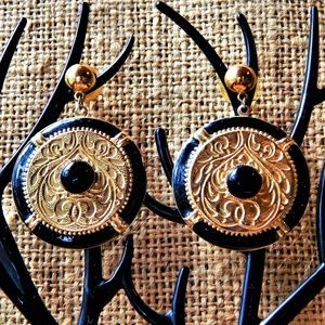 Vintage Gold n Black Shield Earrings